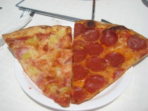 Meat makes pizza happy.