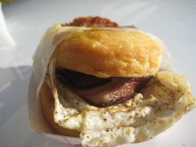The breakfast sandwich is a delight for the tastebuds.